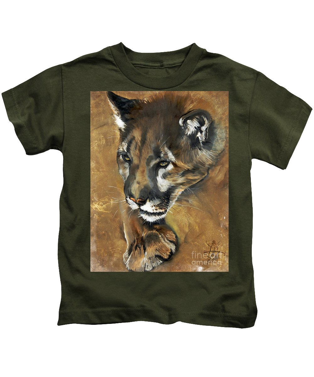 Southwest Art Kids T-Shirt featuring the painting Mountain Lion - Guardian Of The North by J W Baker