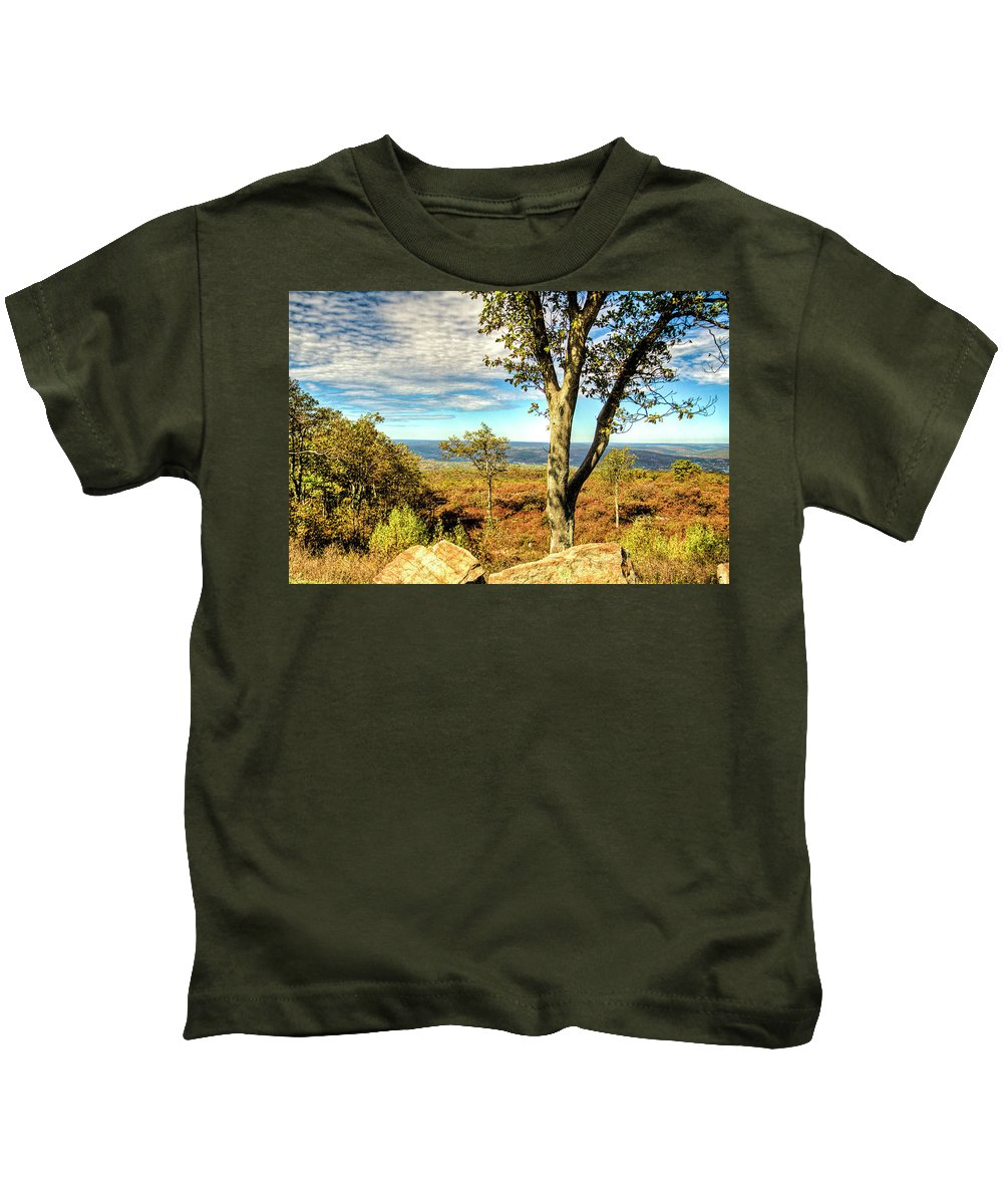Recent Kids T-Shirt featuring the photograph Mountain Overlook At High Point New Jersey by Geraldine Scull