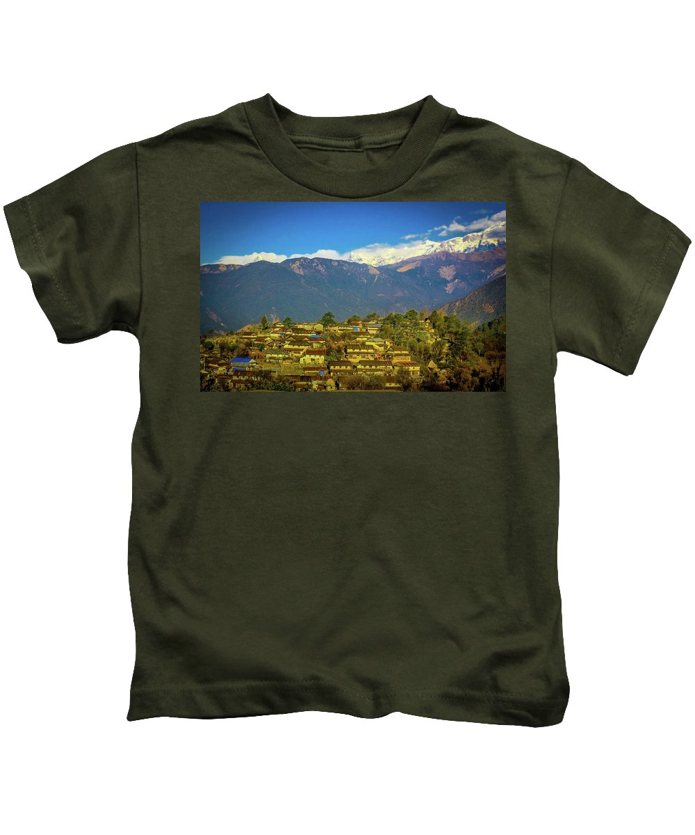 India Kids T-Shirt featuring the photograph Mountain Village by Happy Home Artistry
