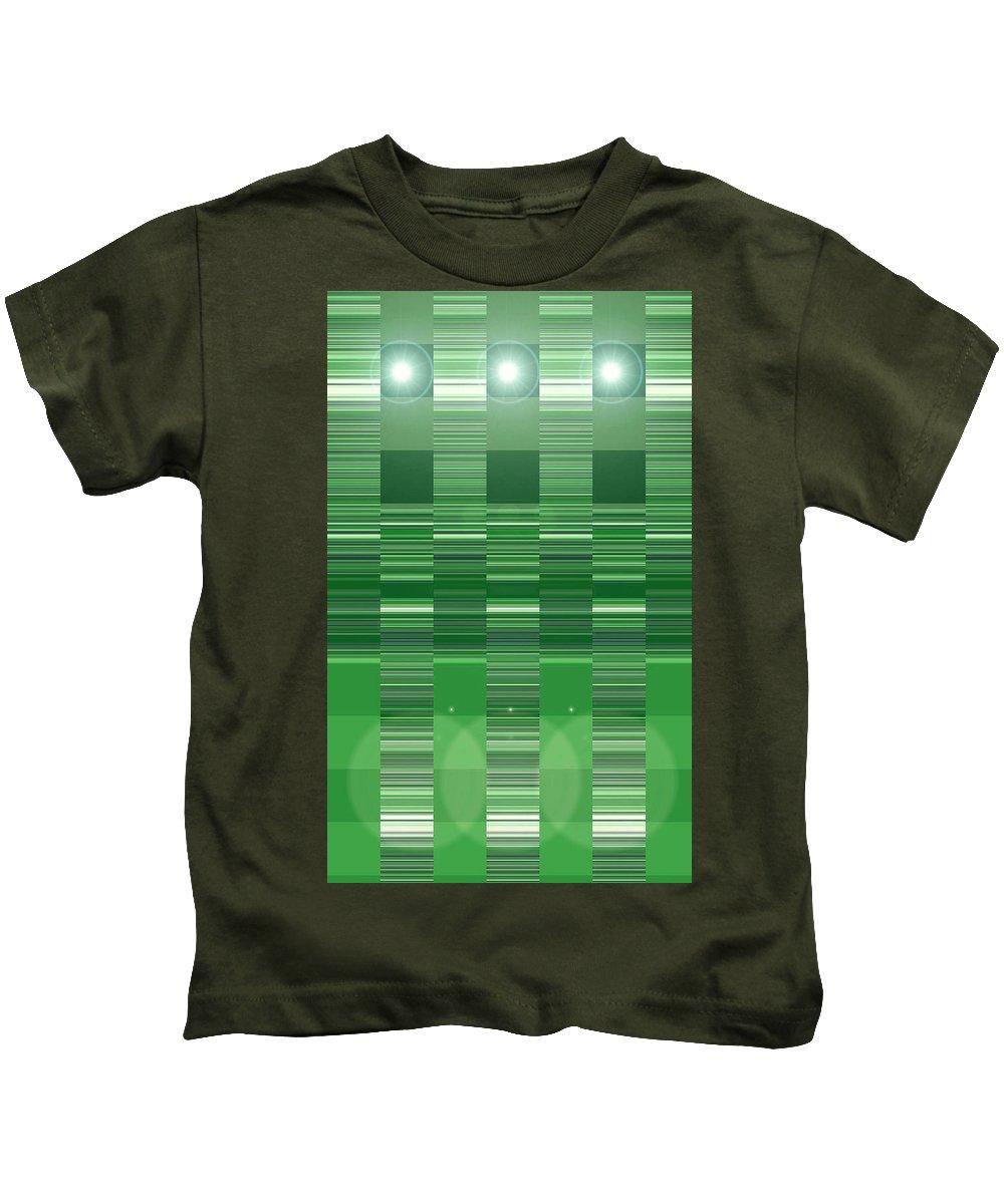 Moveonart! Digital Gallery Kids T-Shirt featuring the digital art Moveonart Green Program Five by Jacob Kanduch