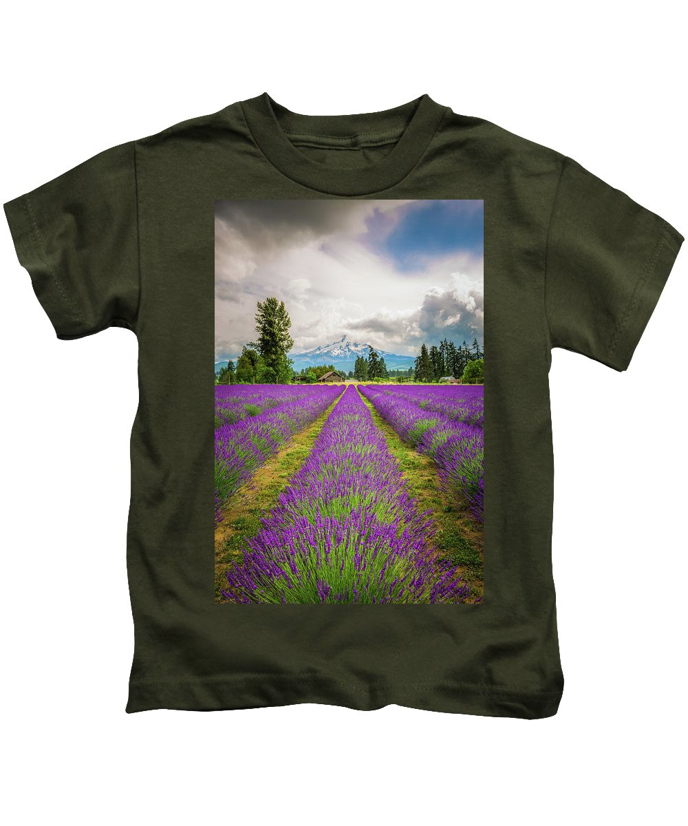 Oregon Kids T-Shirt featuring the photograph Mt. Hood And Lavender by Jean-Claude Ardila