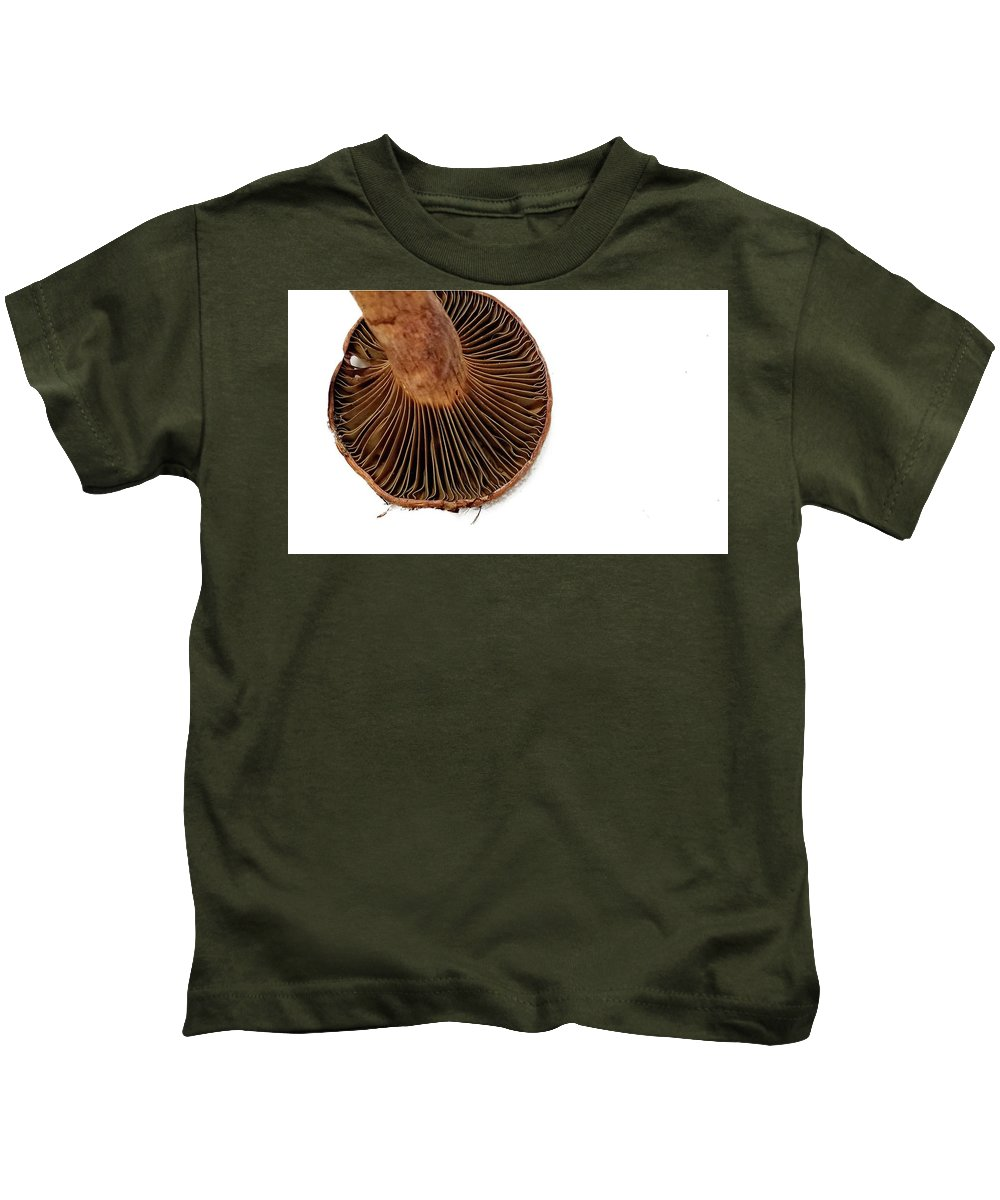 Mushroom Kids T-Shirt featuring the photograph Mushroom Gills by LuAnn Griffin