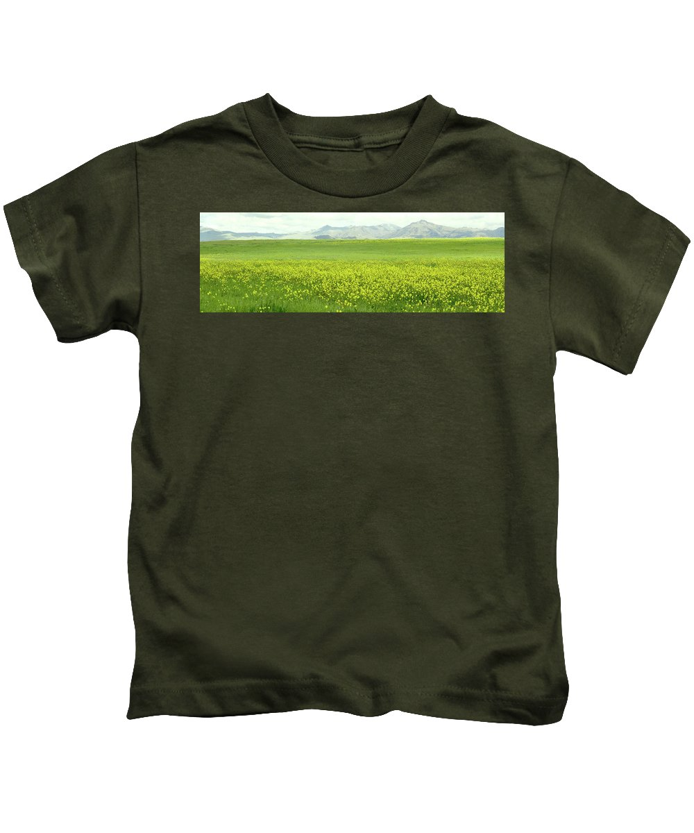 Mountains Mustard Kids T-Shirt featuring the photograph Mustard Kiss by Shannon Grissom