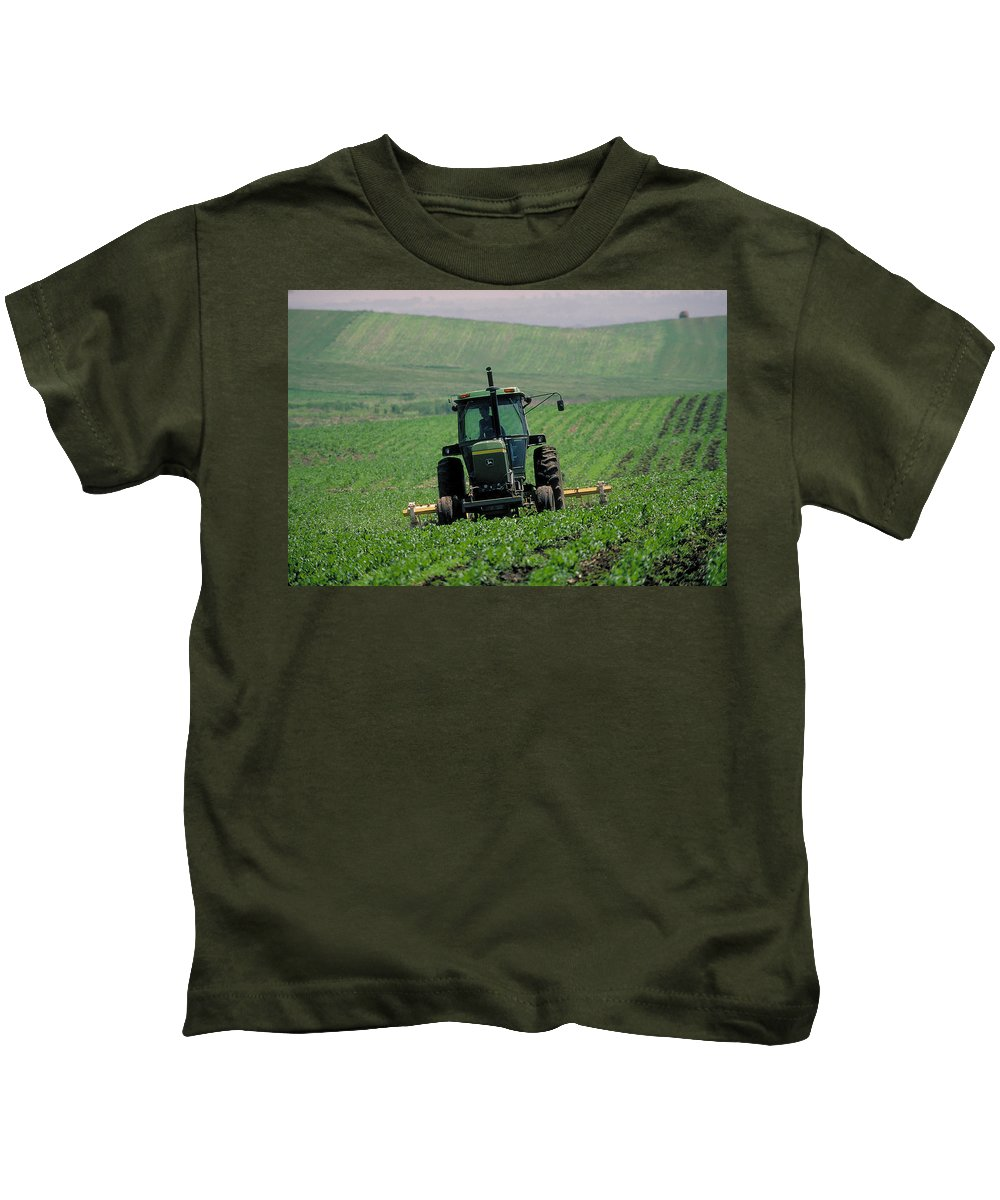 Tractor Kids T-Shirt featuring the photograph My Big Green Tractor by Garry McMichael