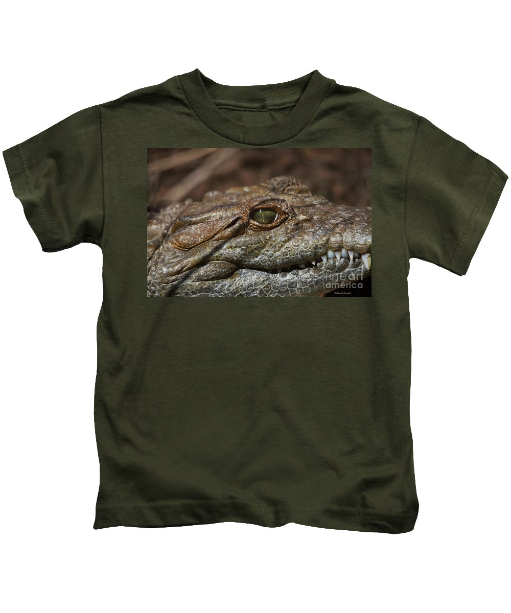 Alligator Kids T-Shirt featuring the photograph My Eye Is On You by Deborah Benoit