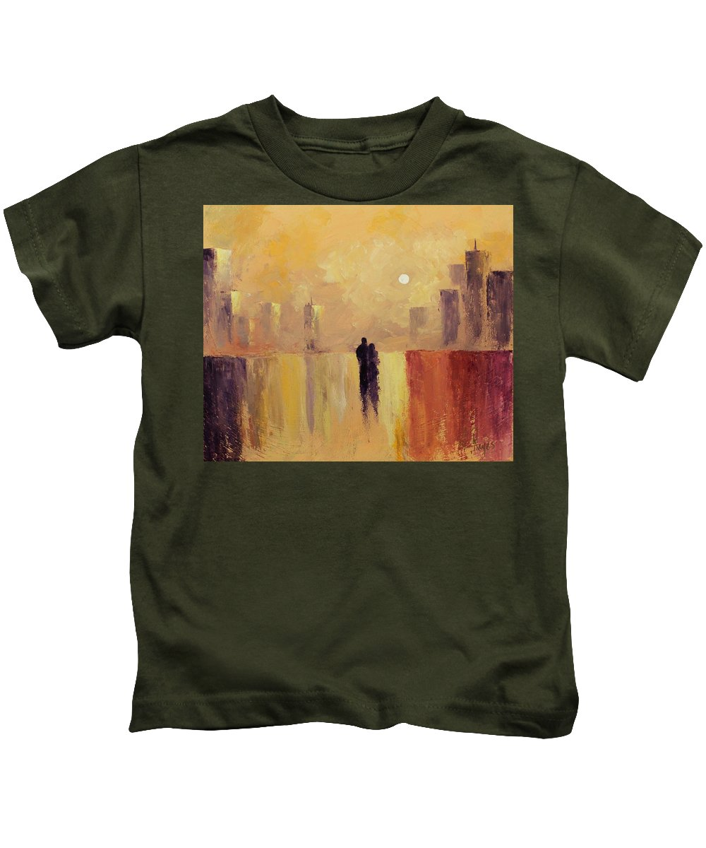 Friend Kids T-Shirt featuring the painting My Friend My Lover by Angel Reyes