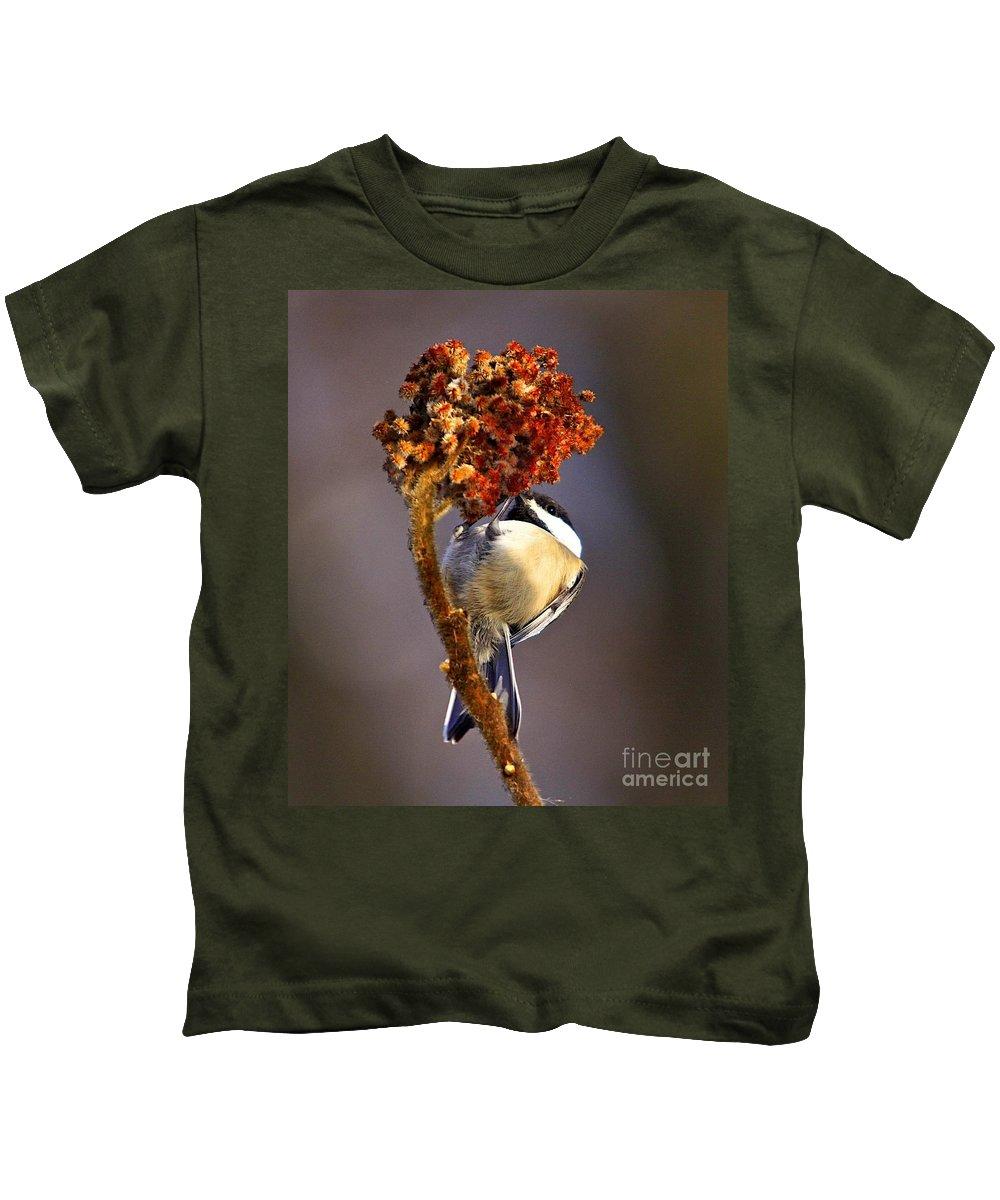 Bird Kids T-Shirt featuring the photograph My Little Chickadee by Robert Pearson