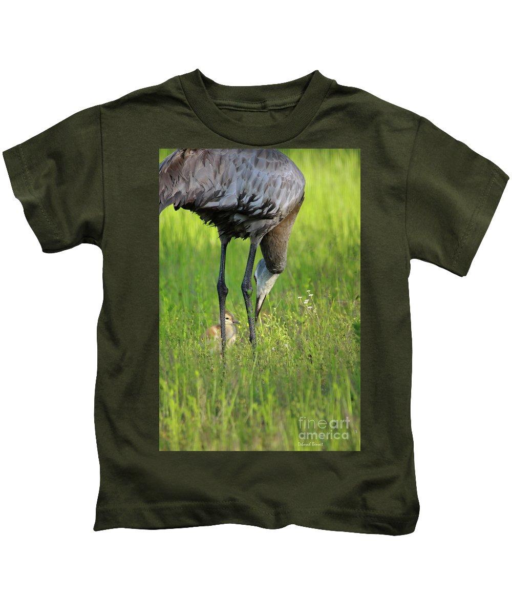 Sandhill Crane Kids T-Shirt featuring the photograph My Little One by Deborah Benoit