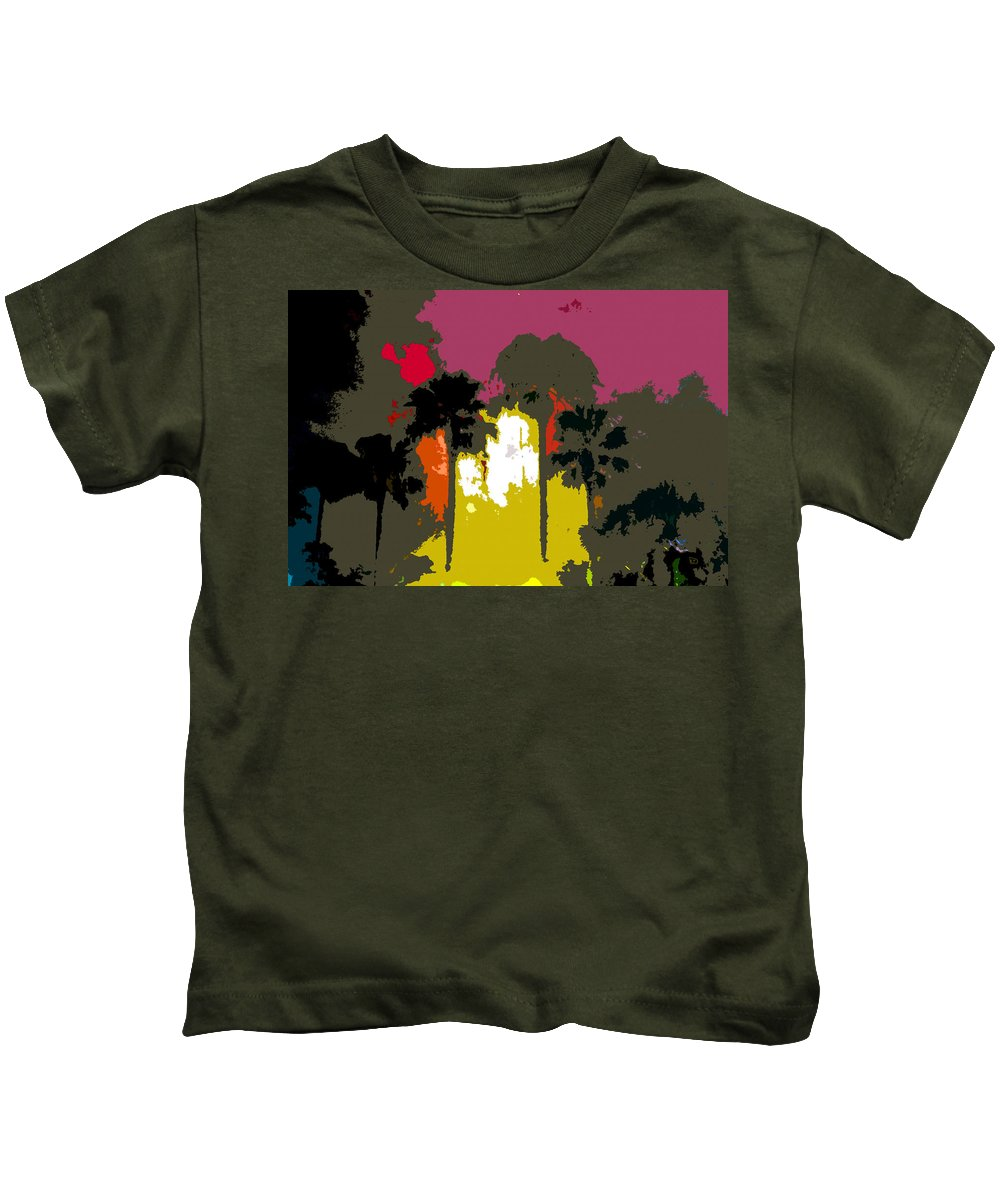 Palms Kids T-Shirt featuring the painting Na Palms by David Lee Thompson