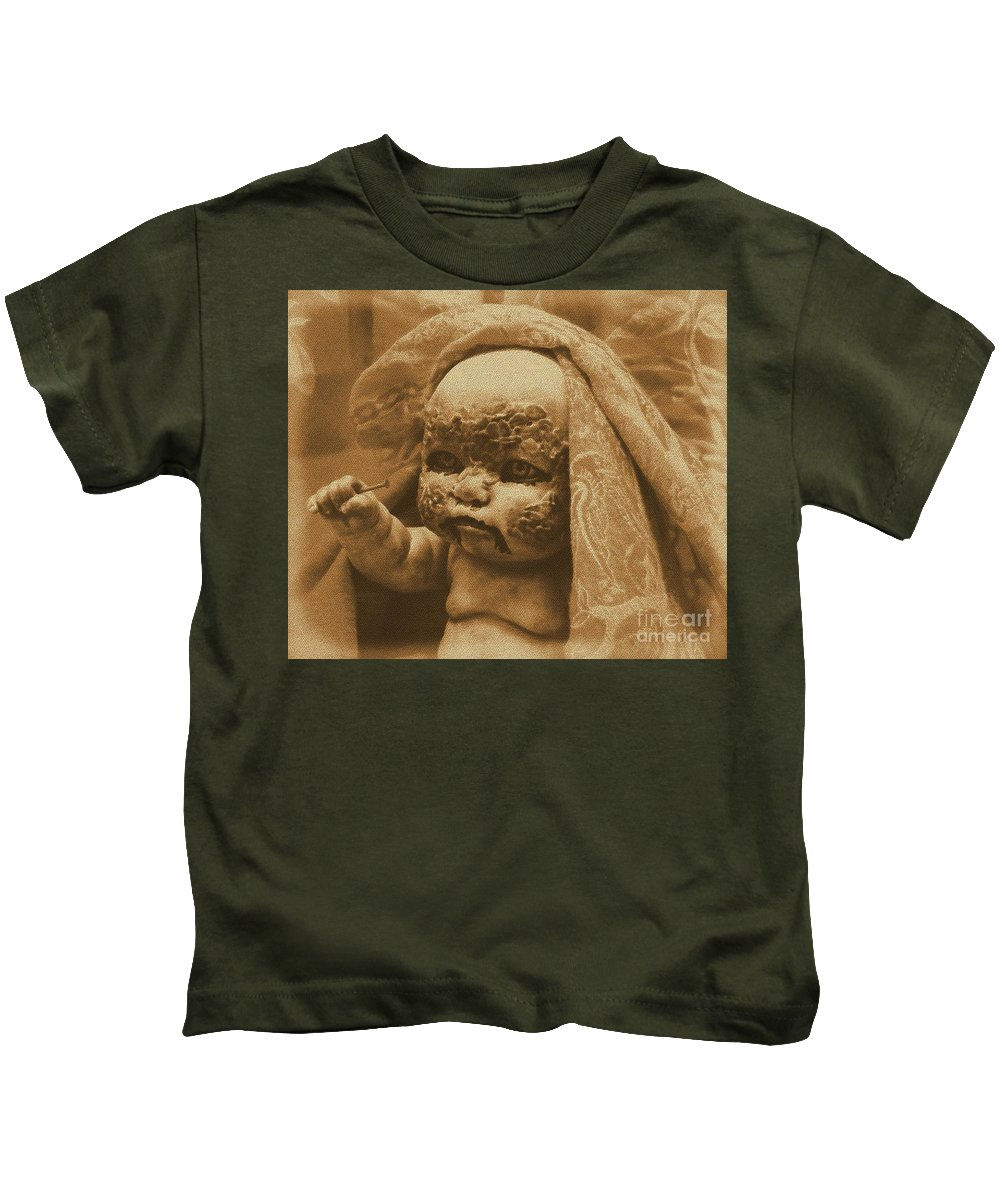 Zombies Kids T-Shirt featuring the photograph Nailbiter by Beverly Shelby