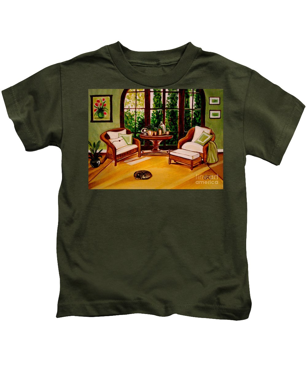Cats Kids T-Shirt featuring the painting Nap Time by Elizabeth Robinette Tyndall