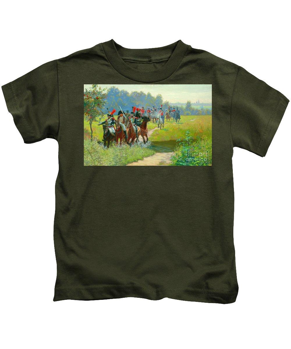 Horses Kids T-Shirt featuring the painting Napoleon by Simon Kozhin
