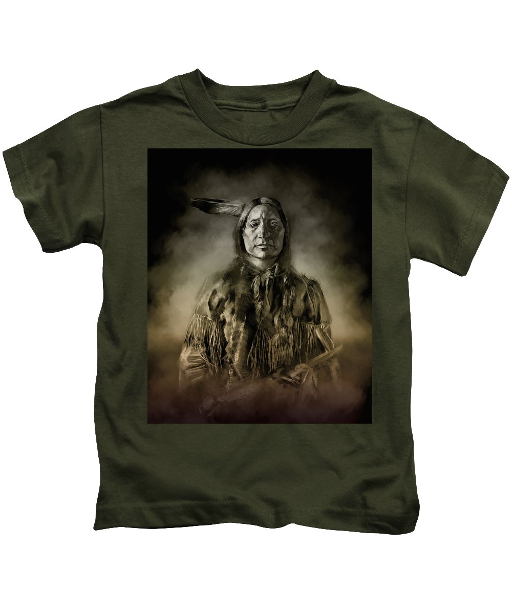 Native Kids T-Shirt featuring the painting Native American Chief-scabby Bull 2 by Bekim Art