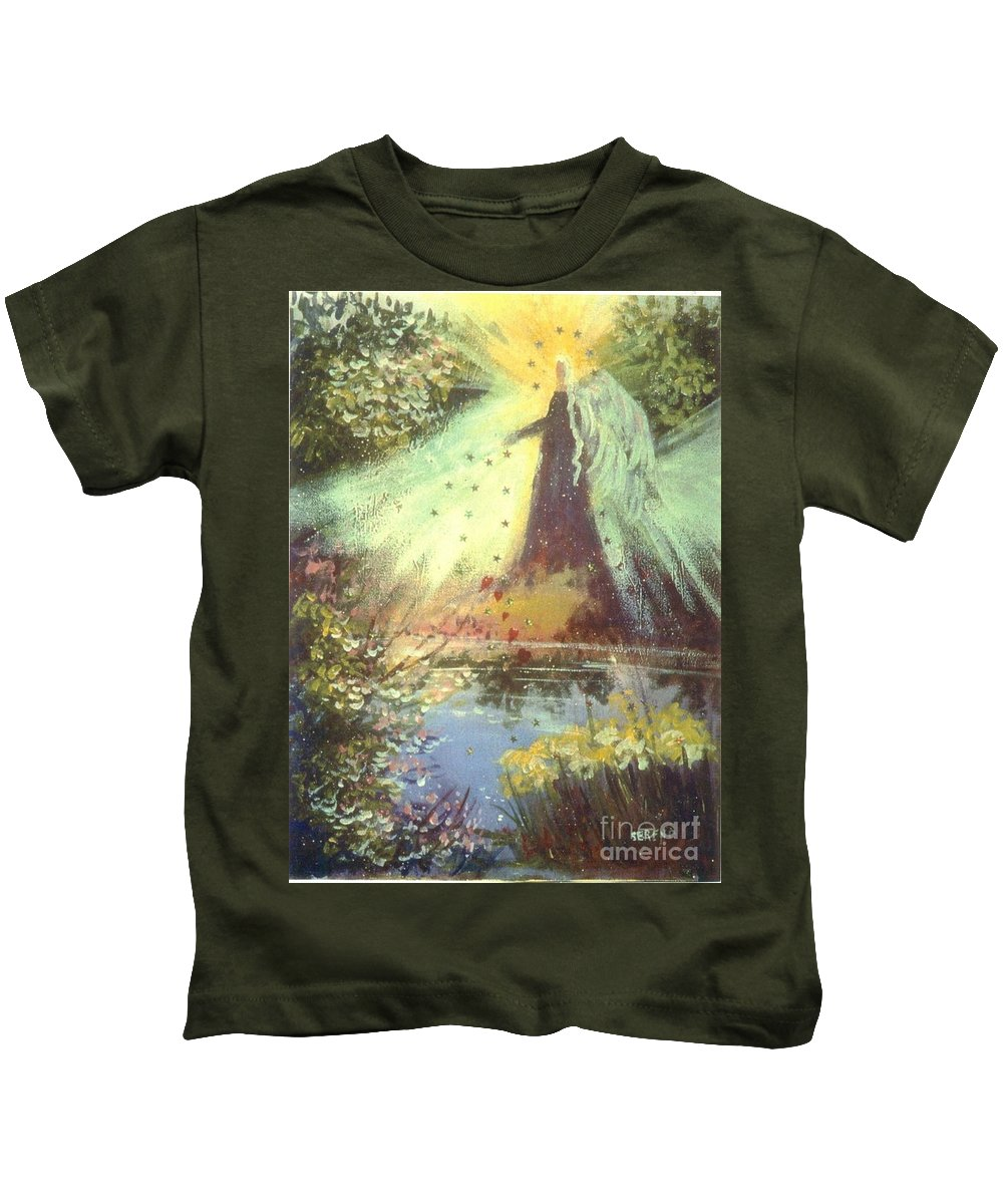 Angel Kids T-Shirt featuring the painting Nature Angel by Sandy Sereno