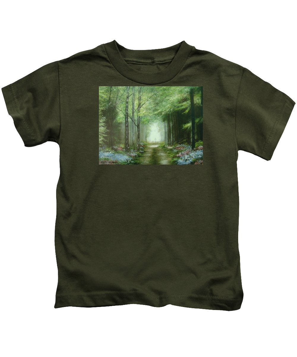 Charles Roy Smith Kids T-Shirt featuring the painting Nature's Cathedral by Charles Roy Smith