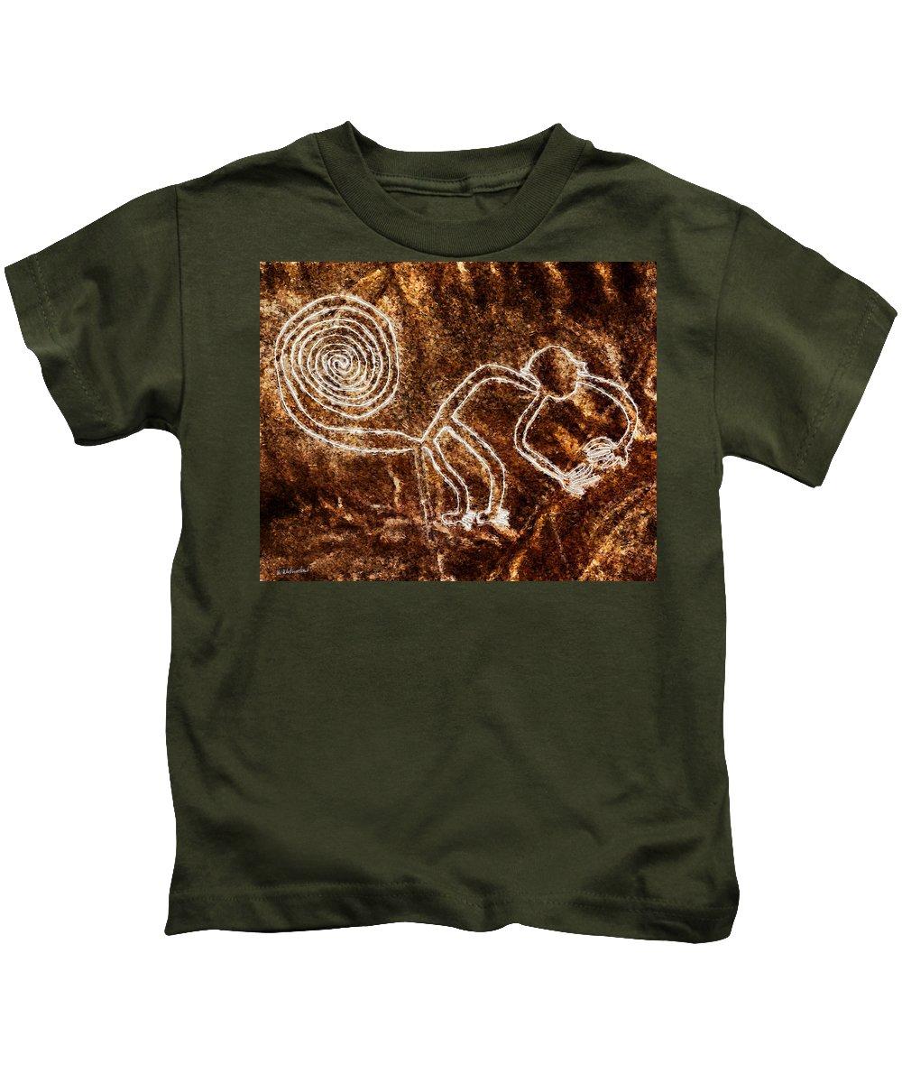 Nazca Monkey Kids T-Shirt featuring the painting Nazca Monkey by Weston Westmoreland