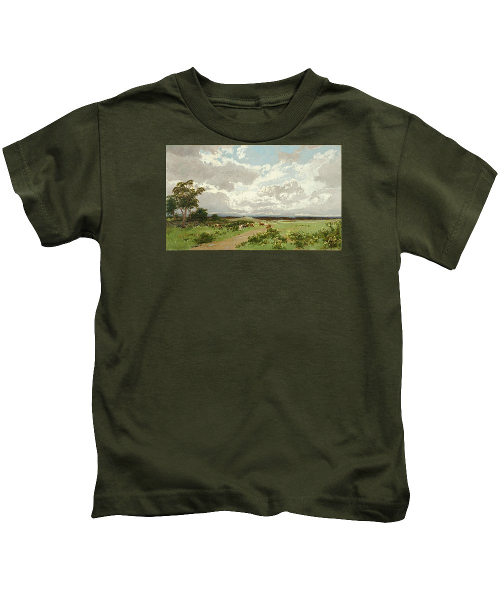 William Charles Piguenit Kids T-Shirt featuring the painting Near Liverpool. New South Wales by William Charles Piguenit