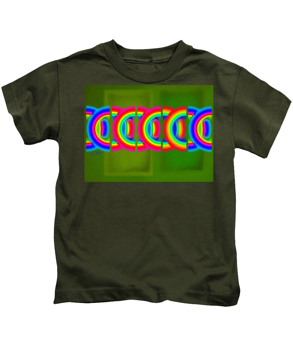 Abstract Kids T-Shirt featuring the painting Neon Chain by Charles Stuart