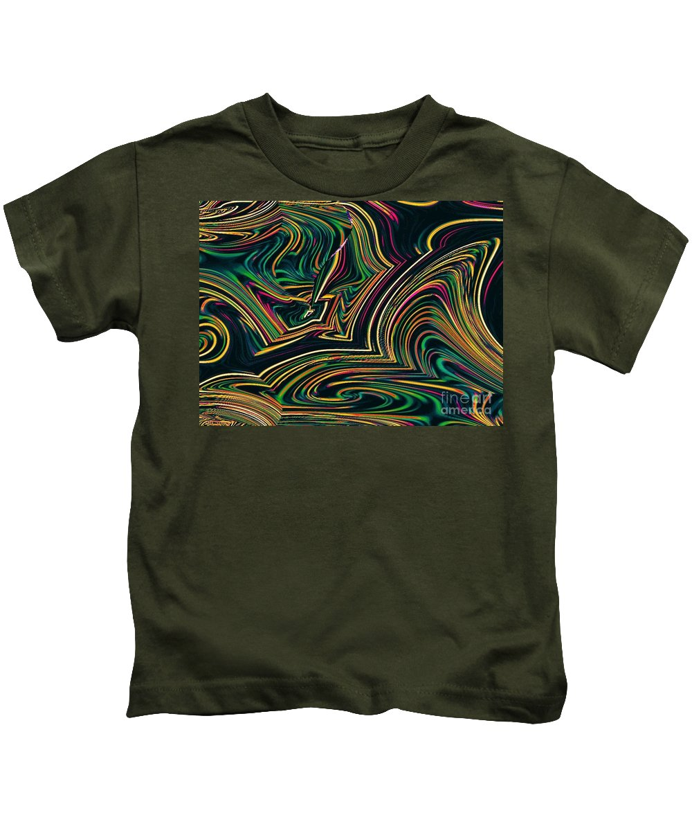 Green Kids T-Shirt featuring the digital art Neon Night Life by Debra Lynch