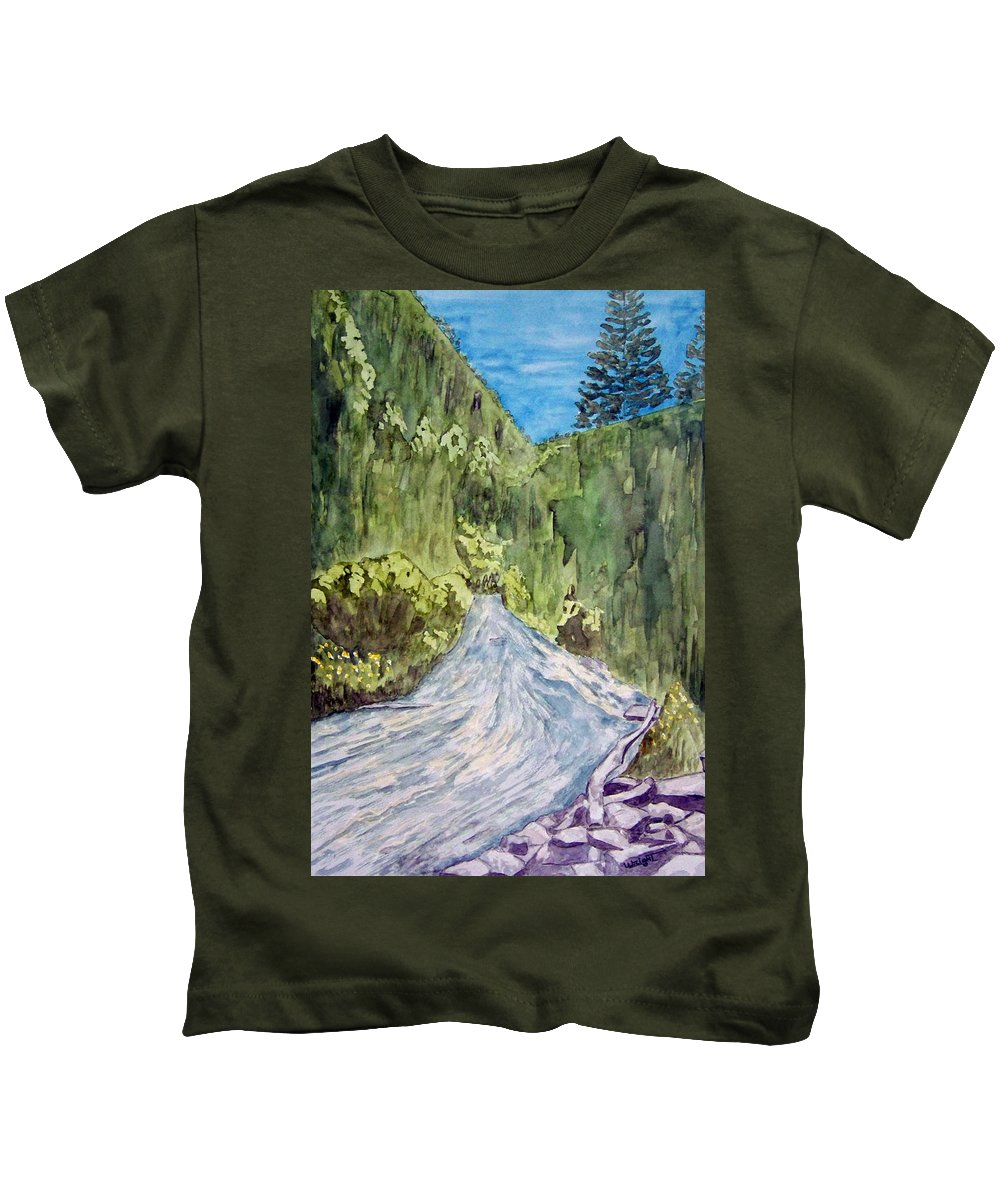 New Mexico Art Kids T-Shirt featuring the painting New Mexico Canyon Impression by Larry Wright