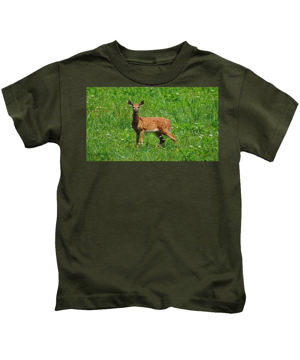 Fawn Kids T-Shirt featuring the photograph New Spots by Eric Liller