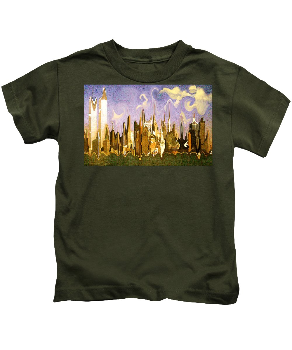 New+york+city Kids T-Shirt featuring the painting New York City 2200 - Modern Art by Peter Potter