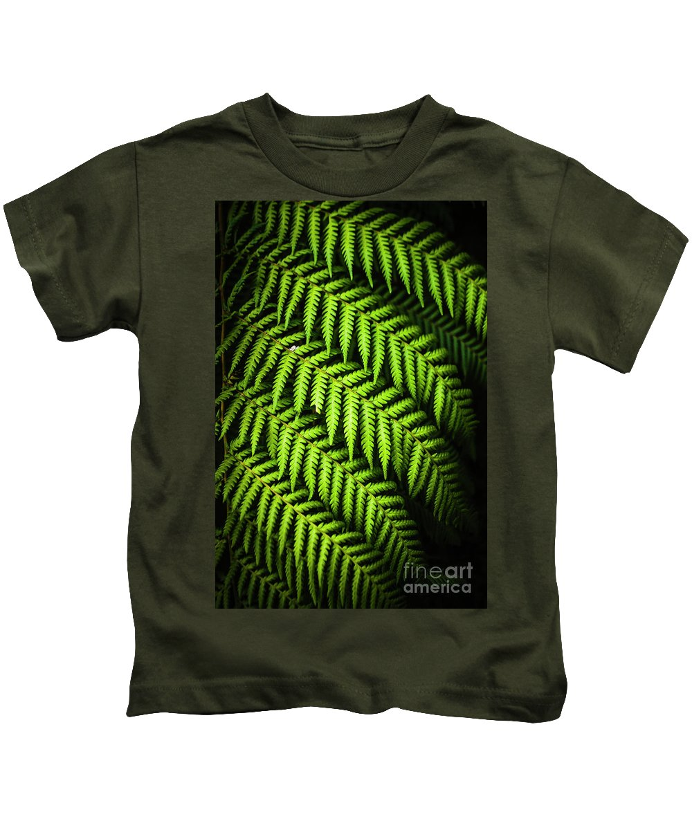Green Kids T-Shirt featuring the photograph Night Forest Frond by Jorgo Photography - Wall Art Gallery