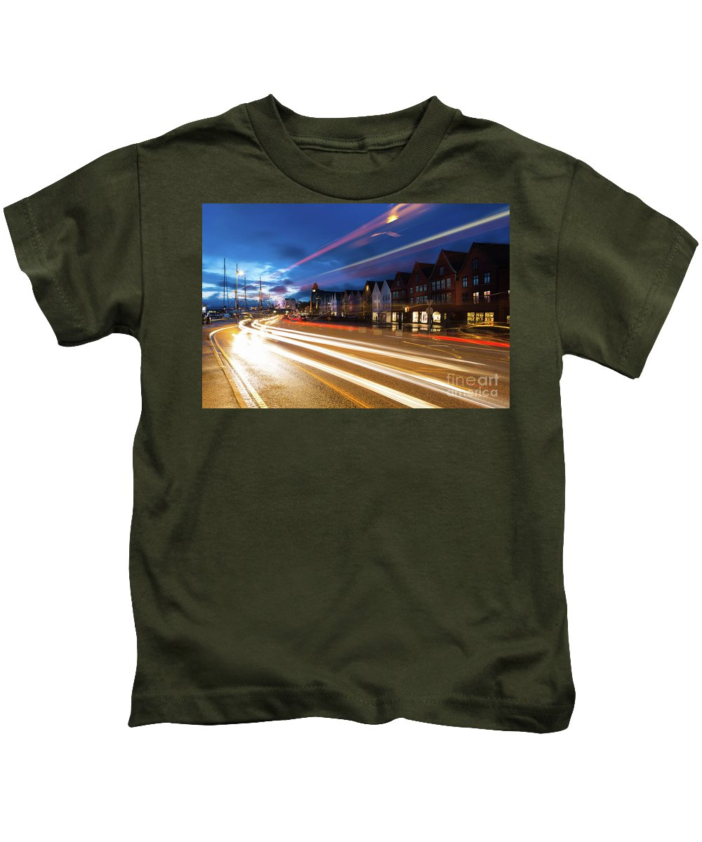 Bergen Kids T-Shirt featuring the photograph Night Rush In Bryggen Harbor In Bergen by Didier Marti