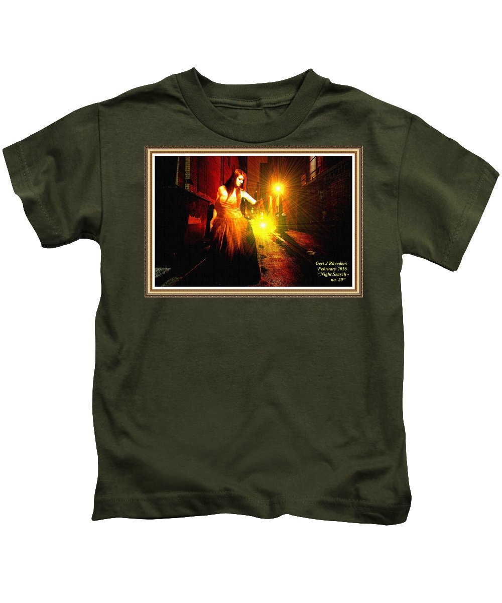 Night Kids T-Shirt featuring the painting Night Search No. 20 L A With Decorative Ornate Printed Frame. by Gert J Rheeders