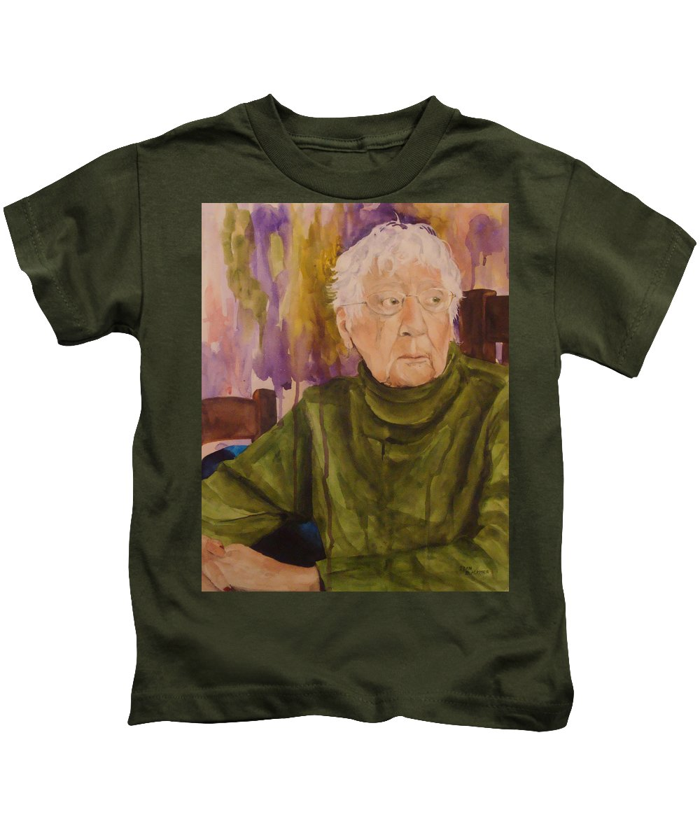 Portrait Kids T-Shirt featuring the painting Ninety Years Young by Jean Blackmer