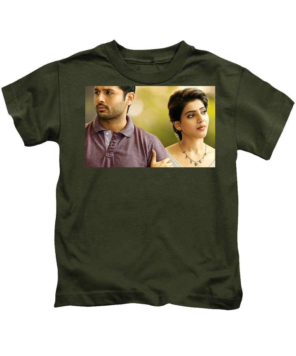 Nithin Samantha A Aa Telugu Movie Kids T-Shirt featuring the digital art Nithin Samantha A Aa Telugu Movie by Rose Lynn