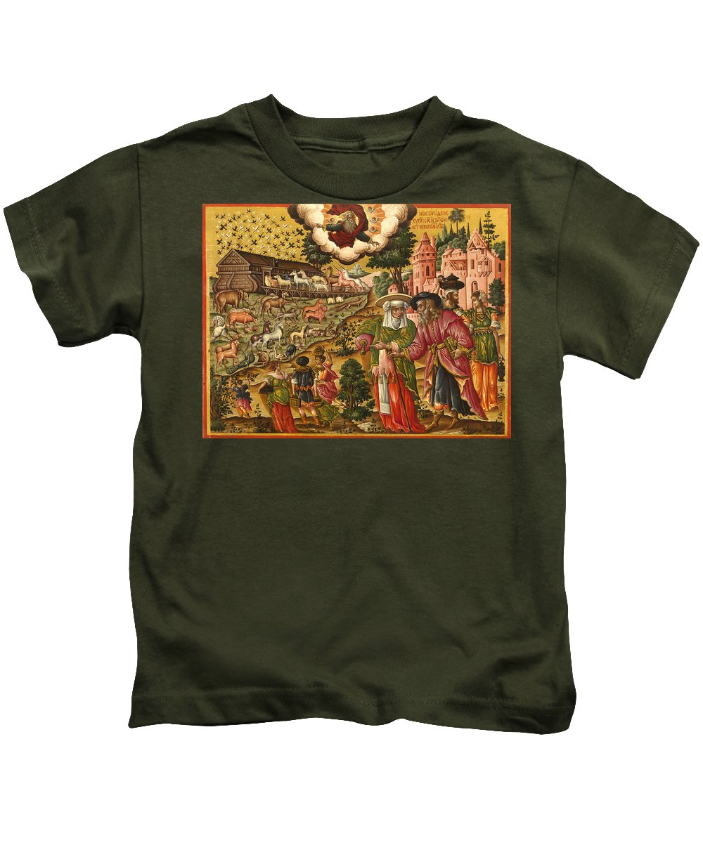 Theodoros Poulakis Kids T-Shirt featuring the painting Noah's Ark by Theodoros Poulakis