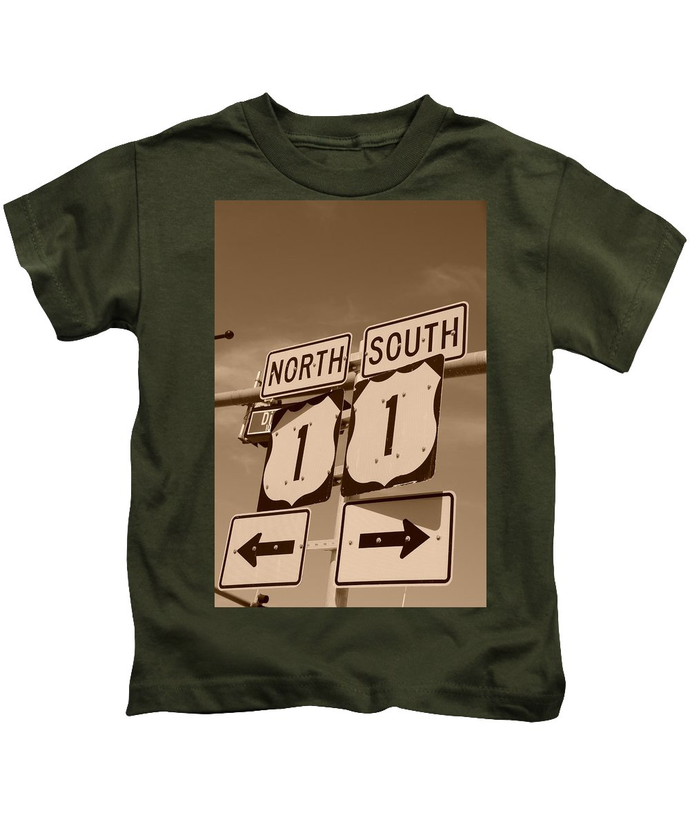 Sepia Kids T-Shirt featuring the photograph North South 1 by Rob Hans