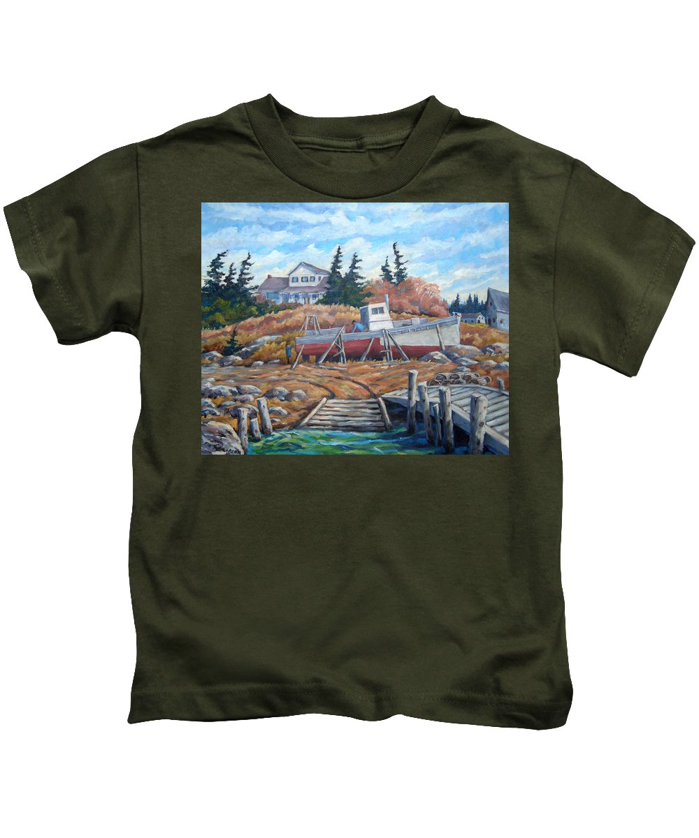 Boat Kids T-Shirt featuring the painting Novia Scotia by Richard T Pranke