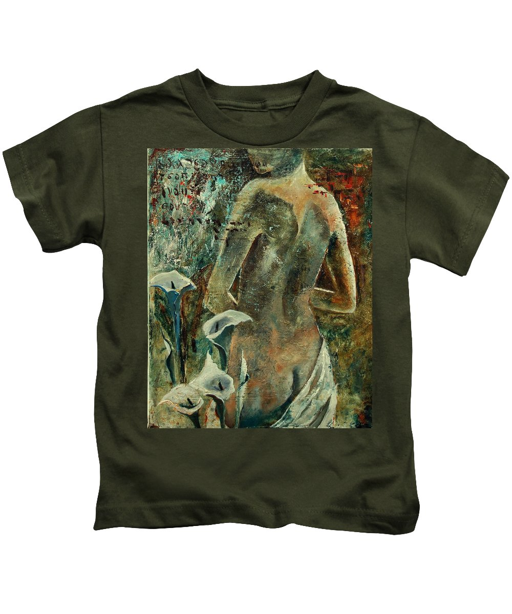 Girl Kids T-Shirt featuring the painting Nude And Arums by Pol Ledent