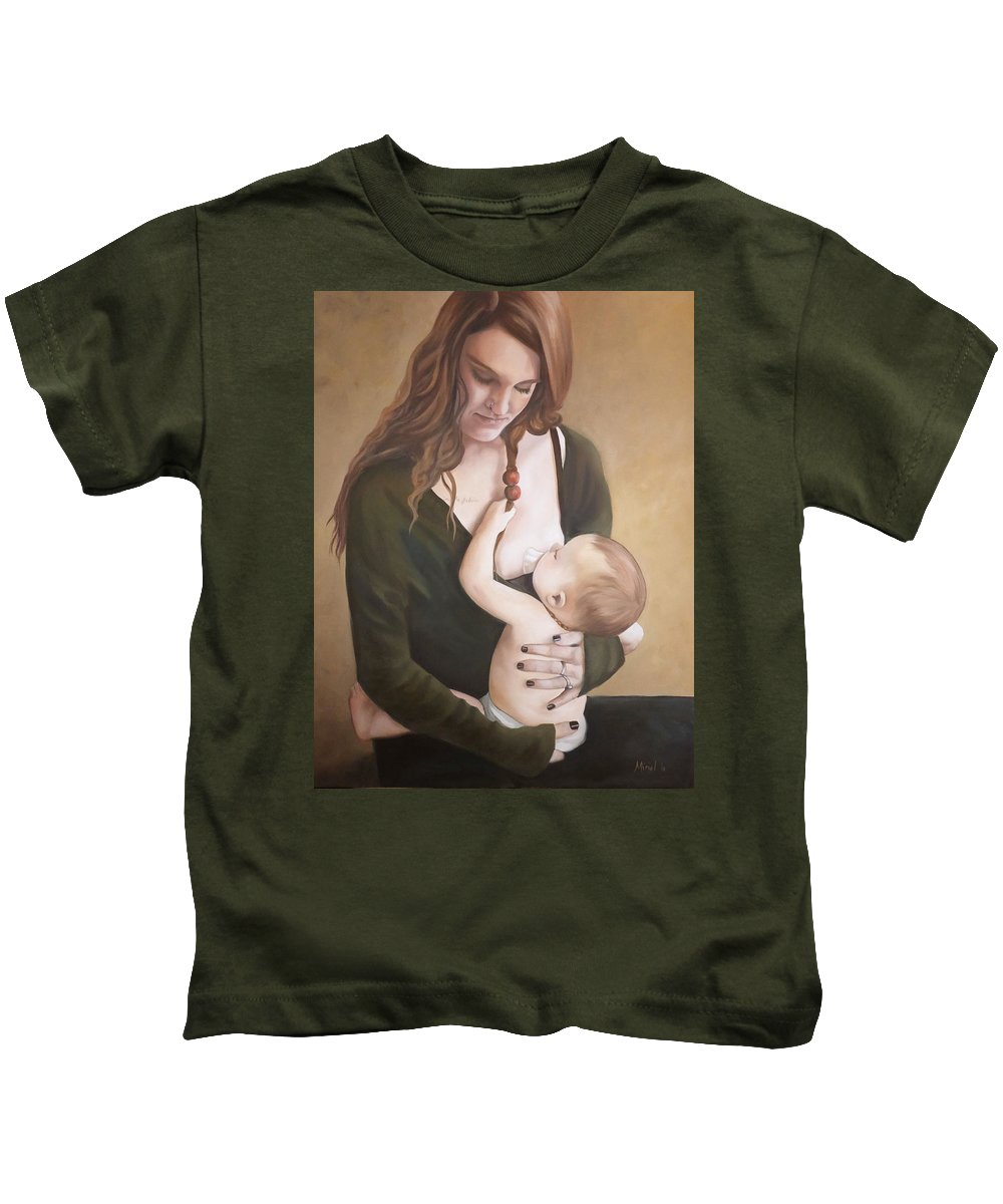 Breastfeeding Kids T-Shirt featuring the painting Nursing With A Shield by Miriel Smith