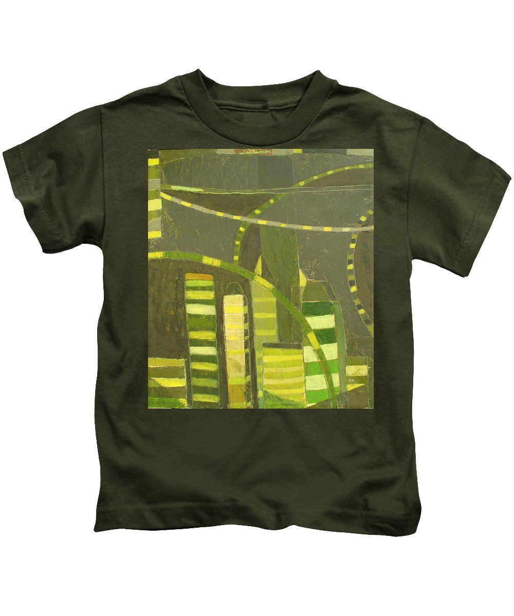 Nyc Kids T-Shirt featuring the painting Nyc In Deep Green by Habib Ayat