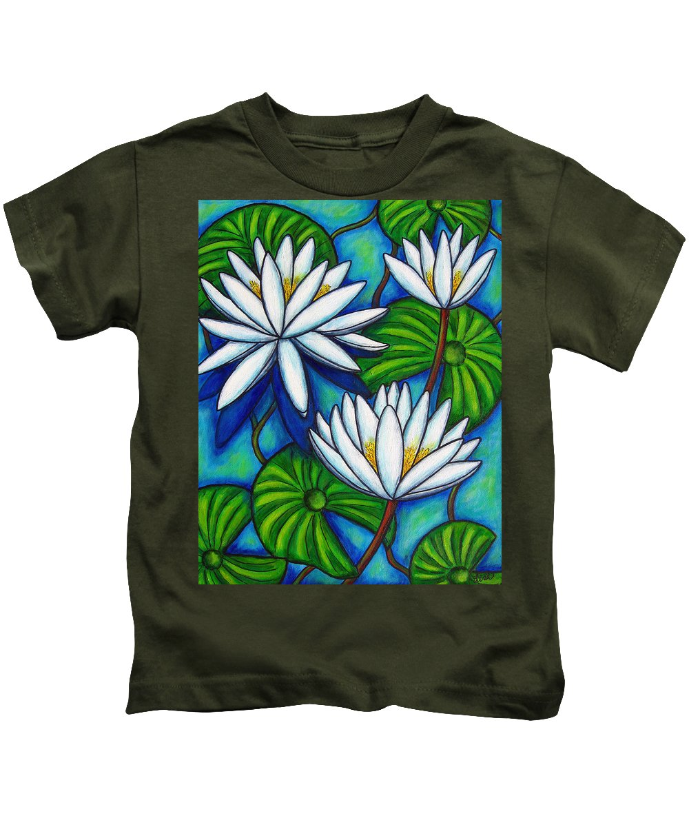 Lily Kids T-Shirt featuring the painting Nymphaea Blue by Lisa Lorenz