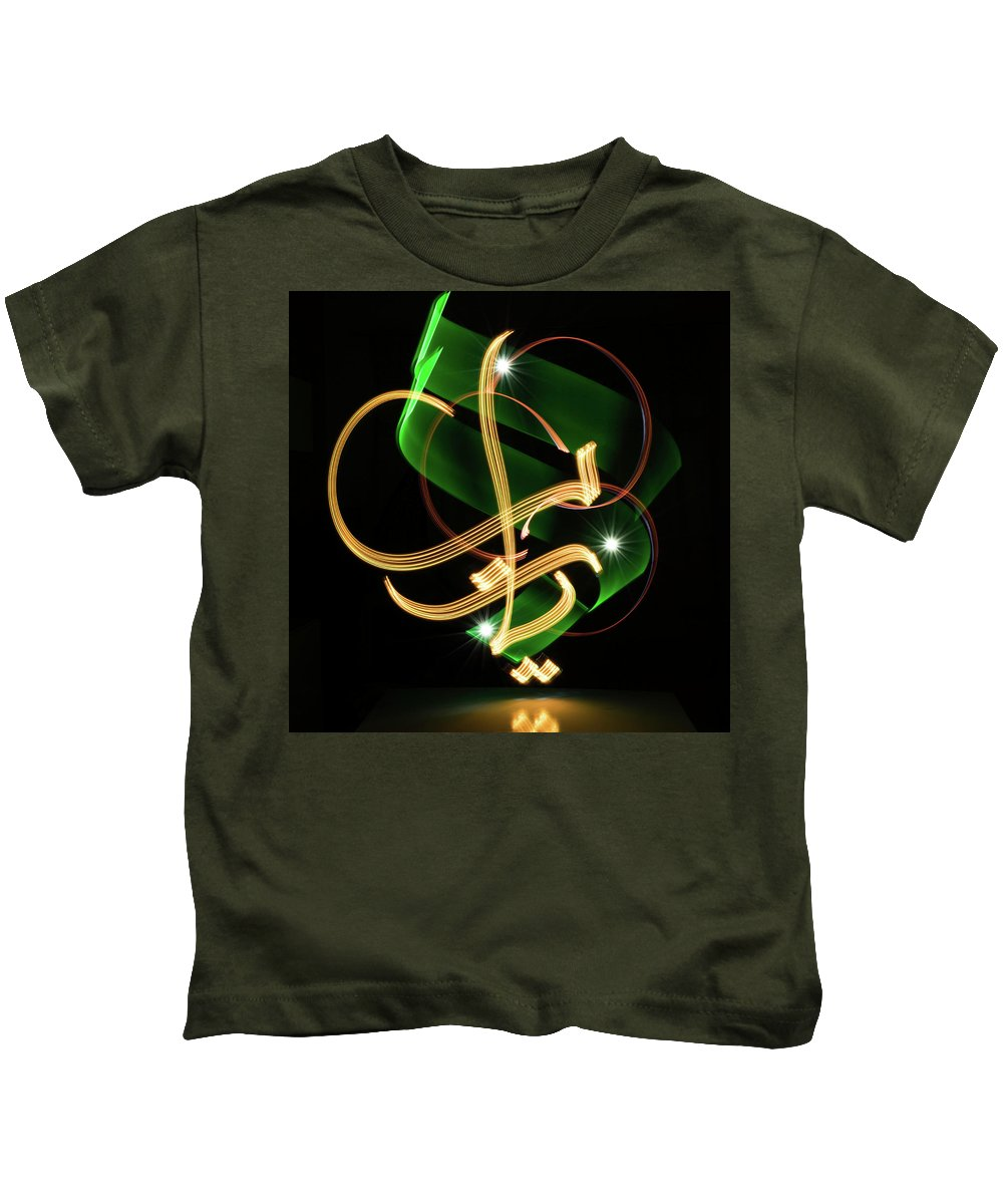 Light Painting Kids T-Shirt featuring the photograph O God, Ya Allah In Arabic by Jz Aamir