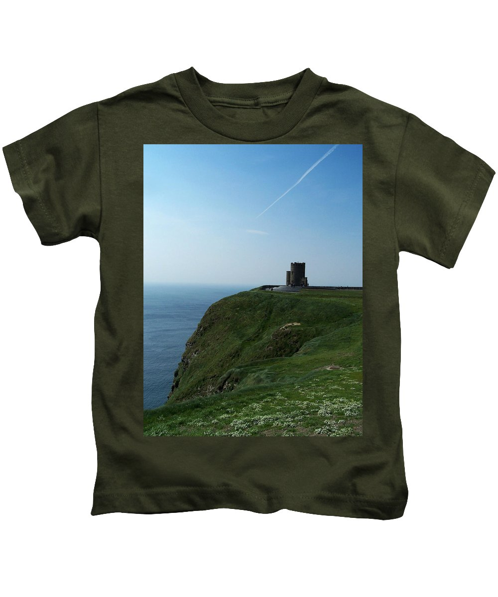 Irish Kids T-Shirt featuring the photograph O'brien's Tower At The Cliffs Of Moher Ireland by Teresa Mucha