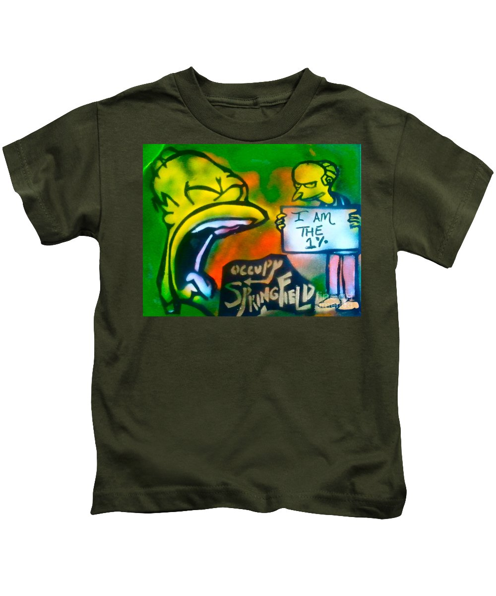 Occupy Kids T-Shirt featuring the painting Occupy Springfield by Tony B Conscious