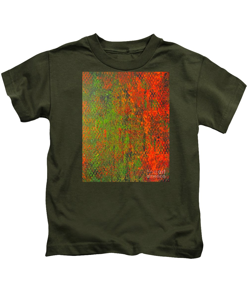 Heart Kids T-Shirt featuring the painting October Rust by Jacqueline Athmann