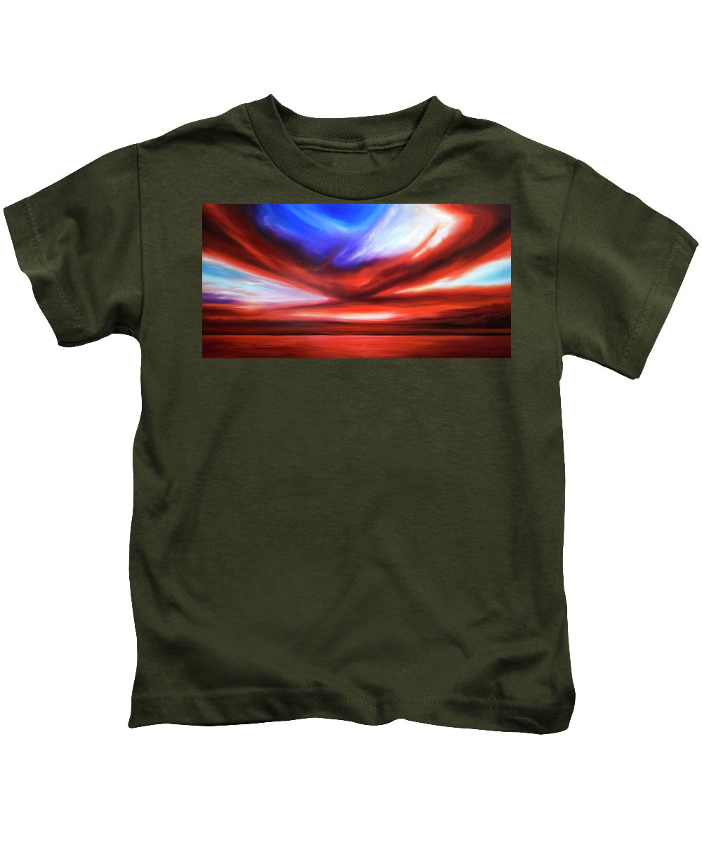 Sunrise; Sunset; Power; Glory; Cloudscape; Skyscape; Purple; Red; Blue; Stunning; Landscape; James C. Hill; James Christopher Hill; Jameshillgallery.com; Ocean; Lakes; Storm; Tornado; Lightning Kids T-Shirt featuring the painting October Sky V by James Christopher Hill