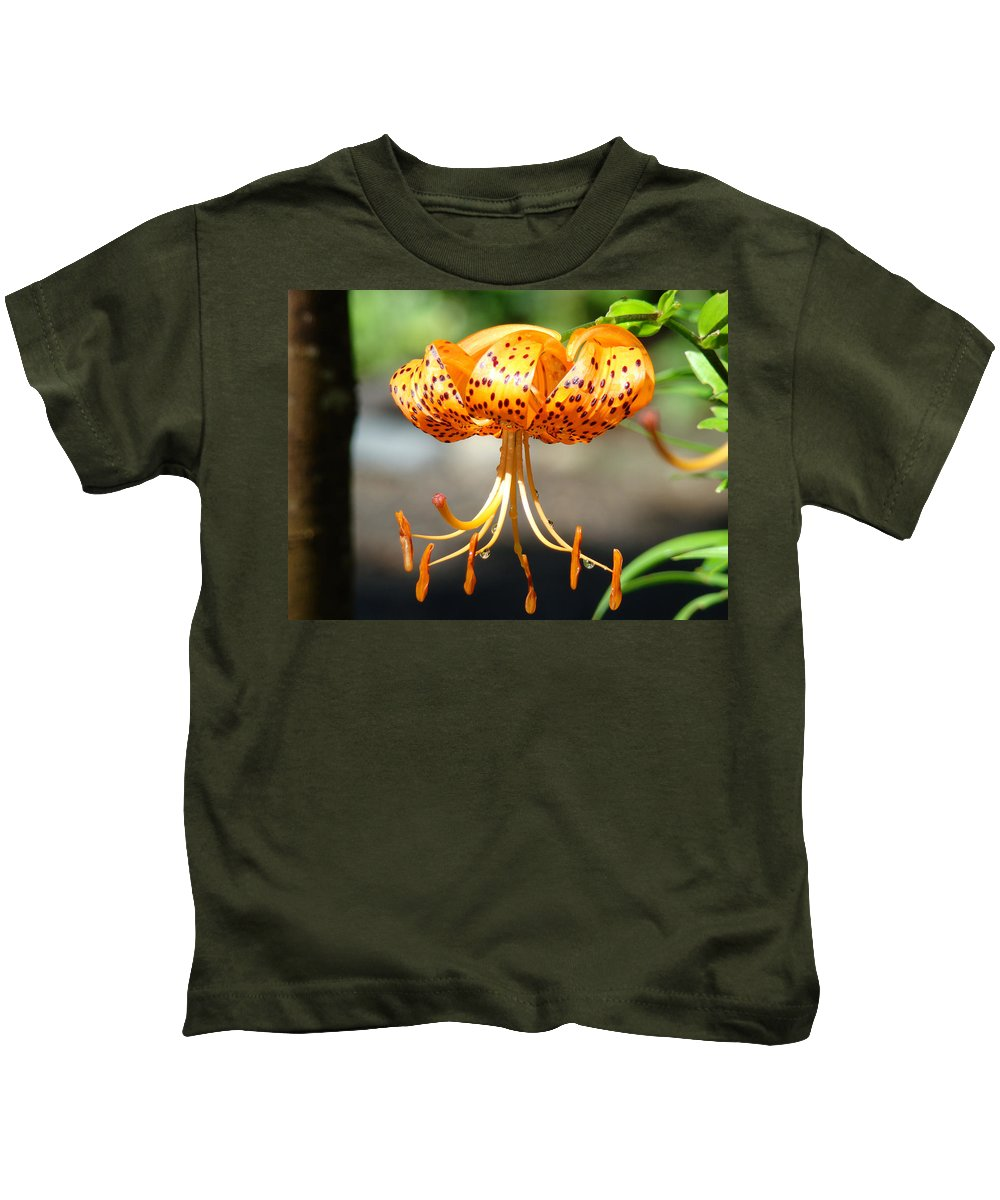 Lilies Kids T-Shirt featuring the photograph Office Art Master Garden Lily Flower Art Print Tiger Lily Baslee Troutman by Baslee Troutman