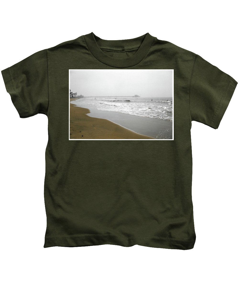 Seascape Kids T-Shirt featuring the photograph Oh Look - We Found Surfers by Paula Hunter
