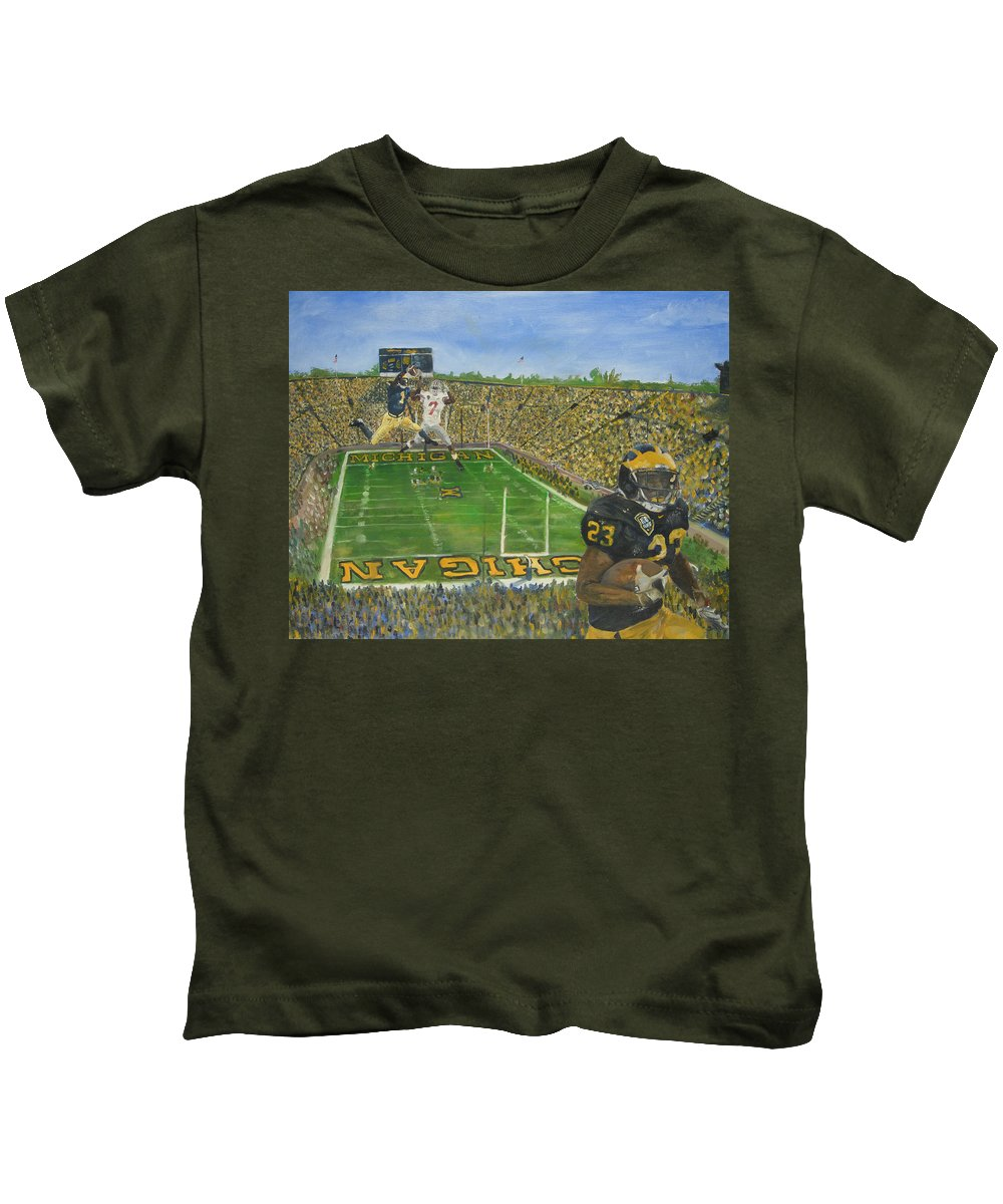 Michigan Kids T-Shirt featuring the painting Ohio State Vs. Michigan 100th Game by Travis Day