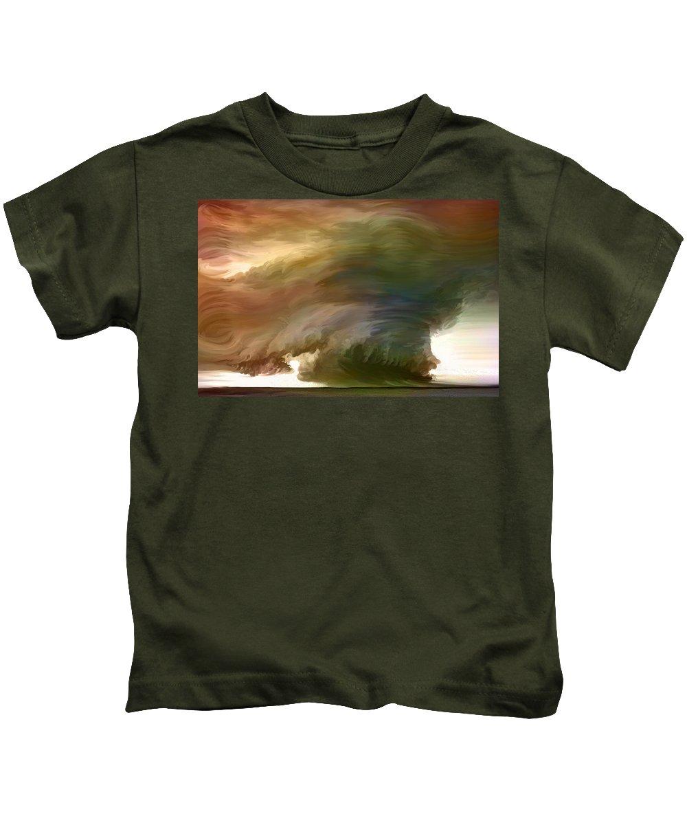 Oklahoma Sheer Terror In The Skies Kids T-Shirt featuring the painting Oklahoma Sheer Terror In The Skies by Angela Stanton