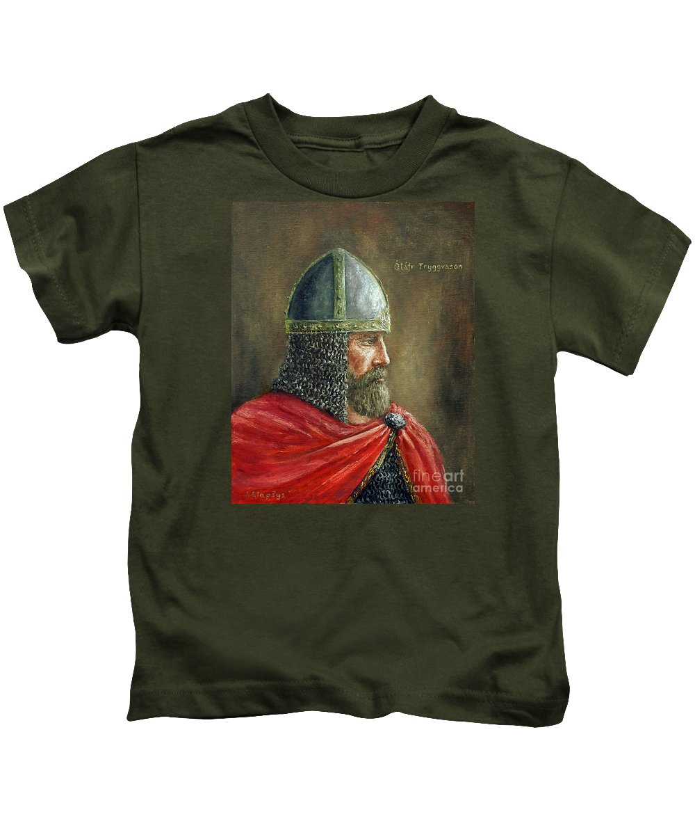 Viking Kids T-Shirt featuring the painting Olaf Tryggvason by Arturas Slapsys