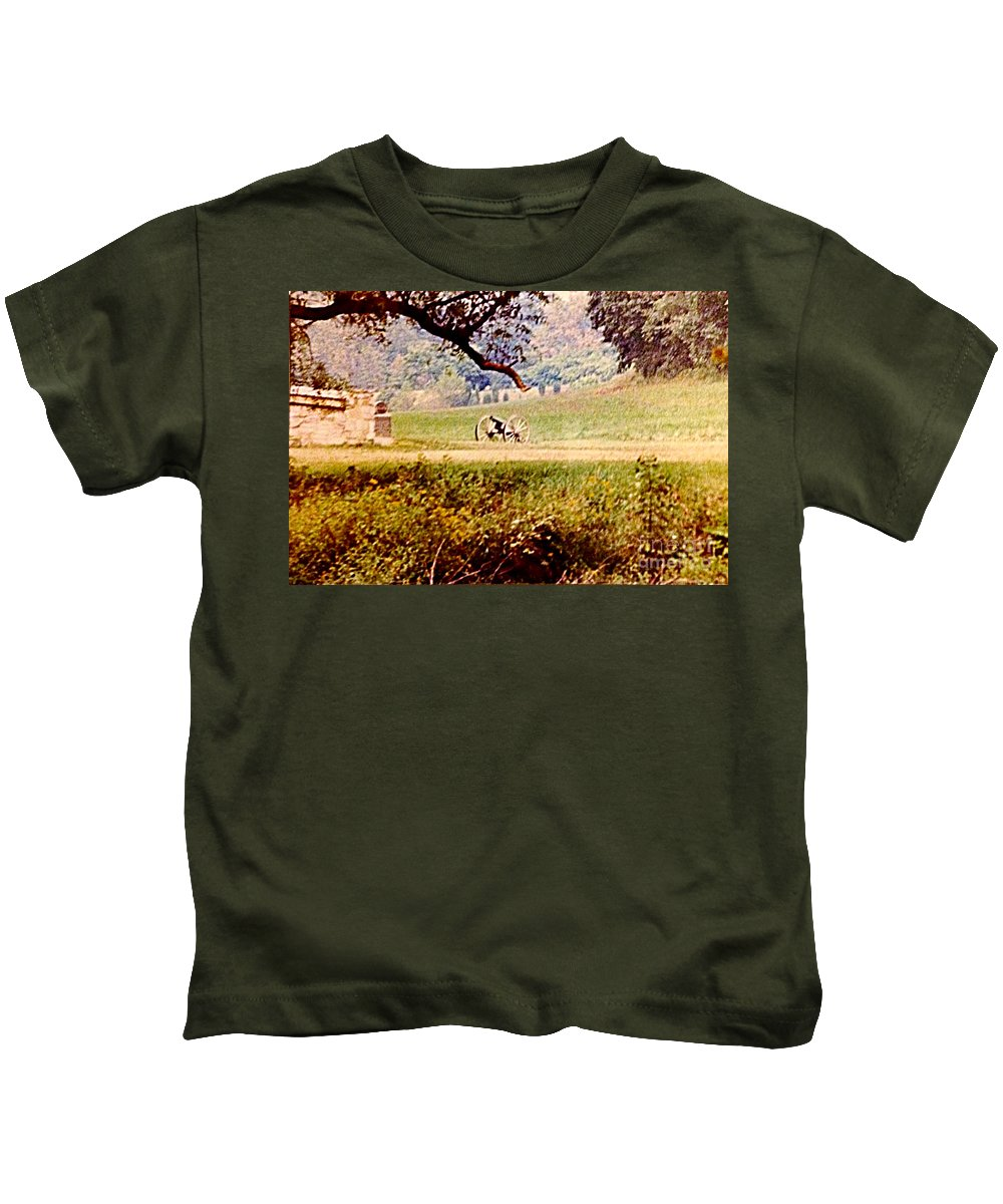 Photograph Kids T-Shirt featuring the photograph Old Cannon At Gettysburg by Debra Lynch