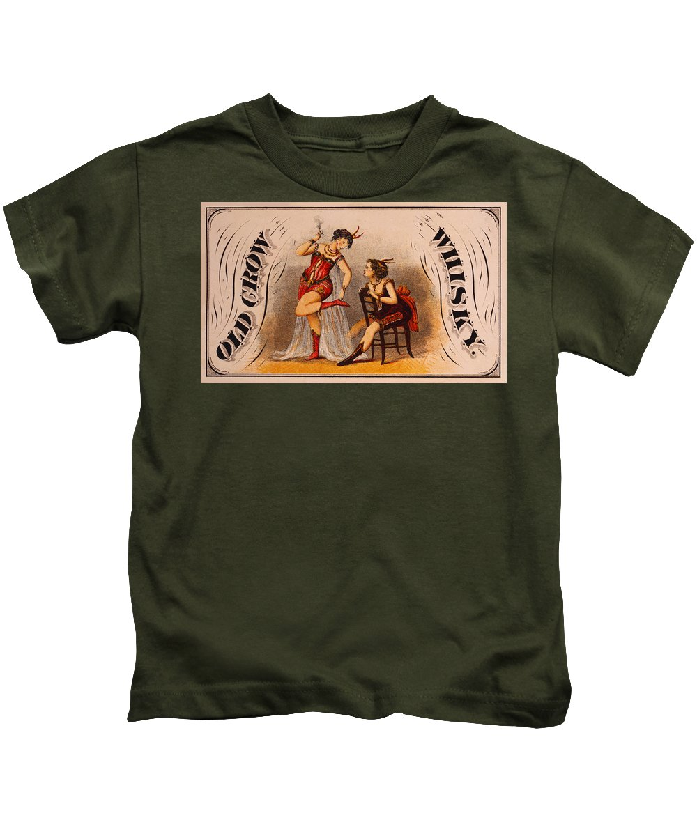 Old Kids T-Shirt featuring the digital art Old Crow Whiskey by Bill Cannon